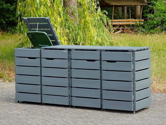 4er Mülltonnenbox / Mülltonnenverkleidung Holz für 120 L Mülltonnen, Oberfläche: Steingrau