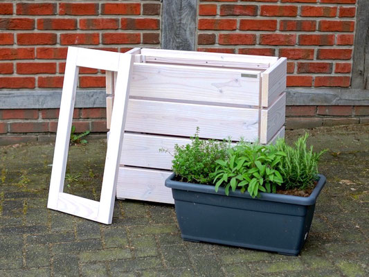 Pflanzkasten / Pflanzkübel Holz S, Oberfläche: Transparent Geölt Weiß