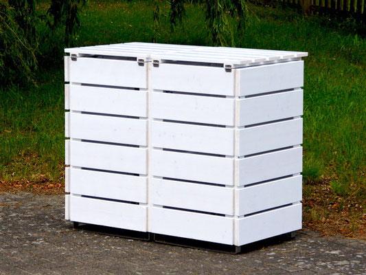 Rückseite 2er Mülltonnenbox / Mülltonnenverkleidung Holz, Oberfläche: Weiß