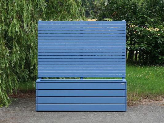 Pflanzkasten Holz Lang mit Sichtschutz nach Maß, Oberfläche: Taubenblau RAL 5014