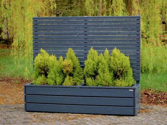 Pflanzkasten Holz Lang mit Sichtschutz, Länge: 212 cm, Höhe: 180 cm, Oberfläche: Deckend Geölt Anthrazit Grau