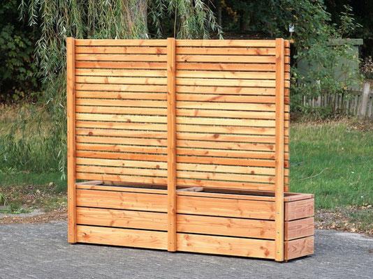 Rückseite Pflanzkasten Holz Lang mit Sichtschutz, Länge: 212 cm, Höhe: 180 cm, Oberfläche: Natur Geölt
