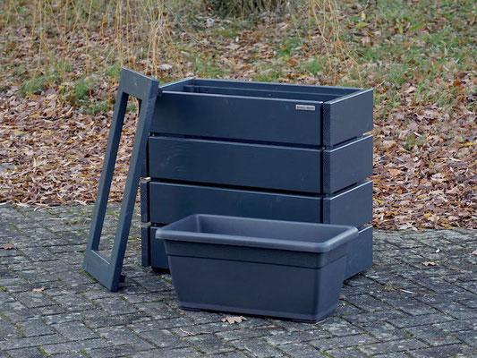 Pflanzkasten / Pflanzkübel Holz S, Höhe: 68 cm, Oberfläche: Anthrazit Grau RAL 7016