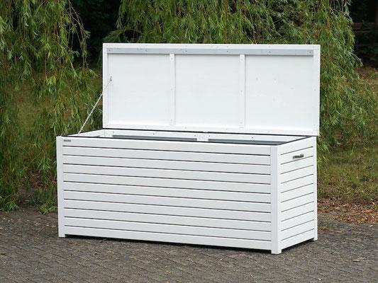 Auflagenbox / Kissenbox Holz, atmungsaktiv & wasserdicht, Oberfläche: Weiß