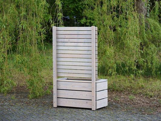 Rückseite Pflanzkasten / Pflanzkübel Holz M mit Sichtschutz, Länge: 92 cm, Höhe: 150 cm, Oberfläche: Transparent Grau