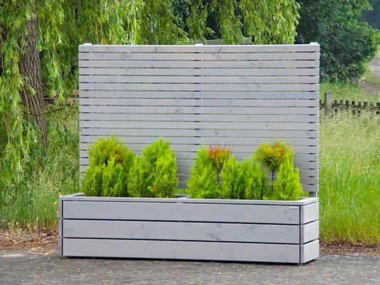 Pflanzkasten Holz Lang mit Sichtschutz, Länge: 212 cm, Höhe: 180 cm, Oberfläche: Transparent Grau
