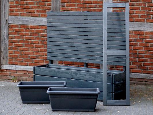 Pflanzkasten Holz Lang M mit Sichtschutz, Länge: 172 cm, Höhe: 150 cm, Oberfläche: Anthrazit Grau