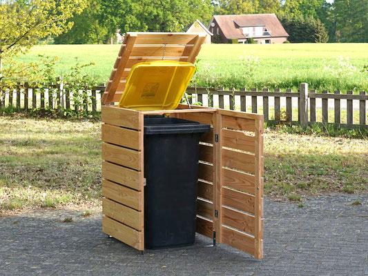 1er Mülltonnenbox / Mülltonnenverkleidung Holz, Oberfläche: Natur Geölt