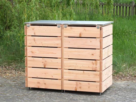 Rückseite 2er Mülltonnenbox Edelstahl / Holz - Deckel, Oberfläche: Natur