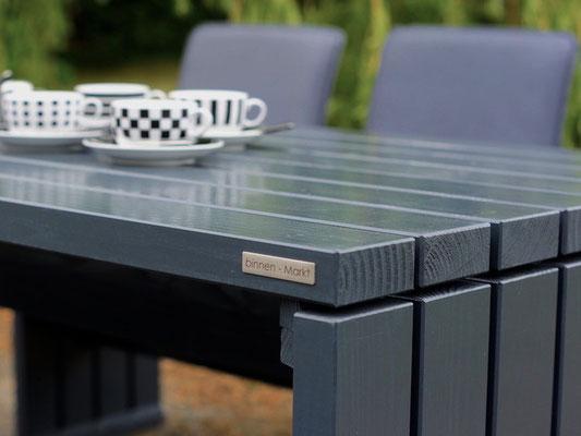 Gartenmöbel Set 1 Holz, Tischgröße: 180 x 80 cm, Oberfläche: Anthrazit