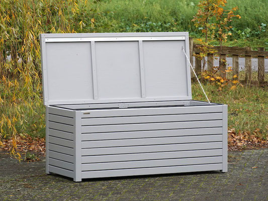 Auflagenbox / Kissenbox Holz, Oberfläche: Signalgrau RAL 7004
