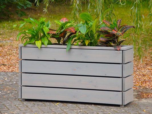 Pflanzkasten / Pflanzkübel Holz Lang S, Oberfläche: Transparent Grau