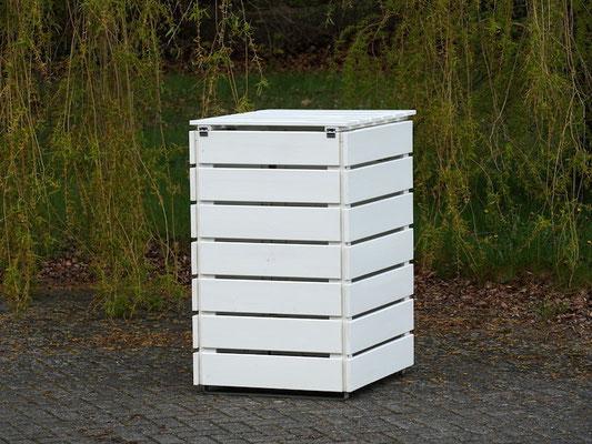 Rückseite 1er Mülltonnenbox / Mülltonnenverkleidung Holz 240 L, Oberfläche: Weiß