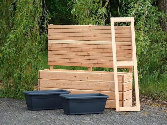 Pflanzkasten / Pflanzkübel Holz Lang M mit Sichtschutz, Länge: 172 cm, Höhe: 150 cm, Oberfläche: Natur Geölt