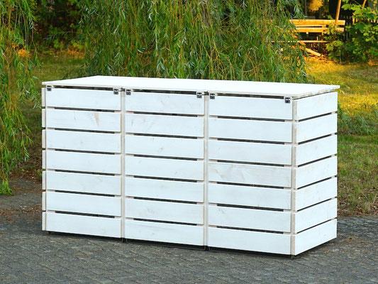 3er Mülltonnenbox / Mülltonnenverkleidung Holz, Oberfläche: Transparent Weiß