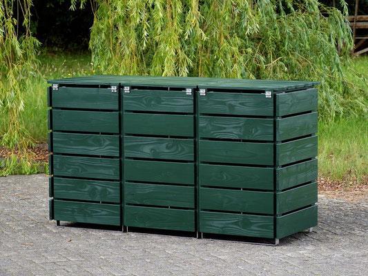 Rückseite 3er Mülltonnenbox / Mülltonnenverkleidung Holz 120 L, Oberfläche: Tannengrün (RAL 6009)
