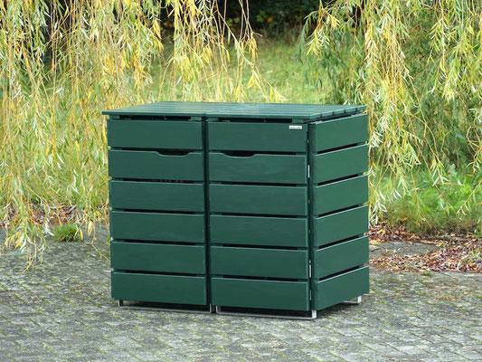 2er Mülltonnenbox / Mülltonnenverkleidung Holz, Oberfläche: Tannengrün (RAL 6009)