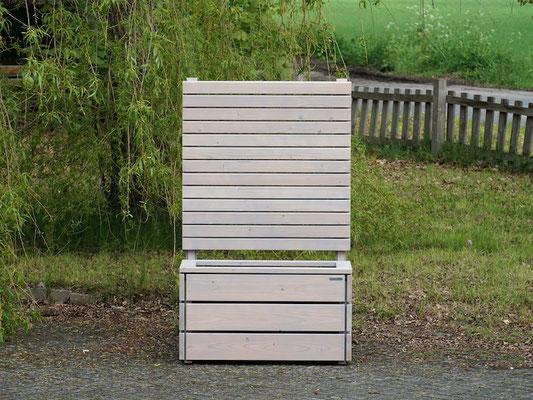 Pflanzkasten / Pflanzkübel Holz M mit Sichtschutz, Länge: 92 cm, Höhe: 150 cm, Oberfläche: Transparent Grau