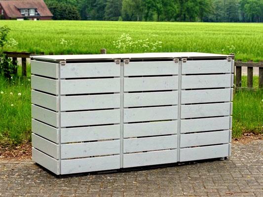 3er Mülltonnenbox Edelstahl / Holz - Deckel, Oberfläche: Lichtgrau (RAL 7035)