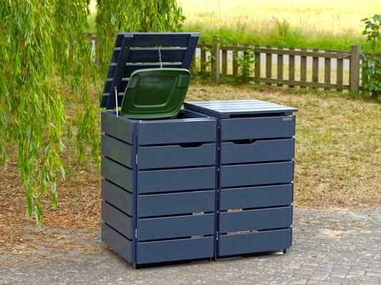 2er Mülltonnenbox / Mülltonnenverkleidung Holz 120 L, Oberfläche: Anthrazit (RAL 7016)