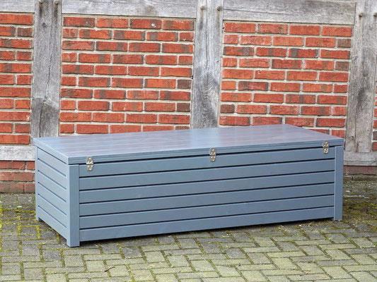 Auflagenbox / Kissenbox Holz nach Maß, Oberfläche: Steingrau RAL 7012, atmungsaktiv & wasserdicht