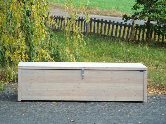 Auflagenbox / Kissenbox Holz nach Maß, Größe 230 x 90 x 62 cm, Oberfläche: Transparent Grau