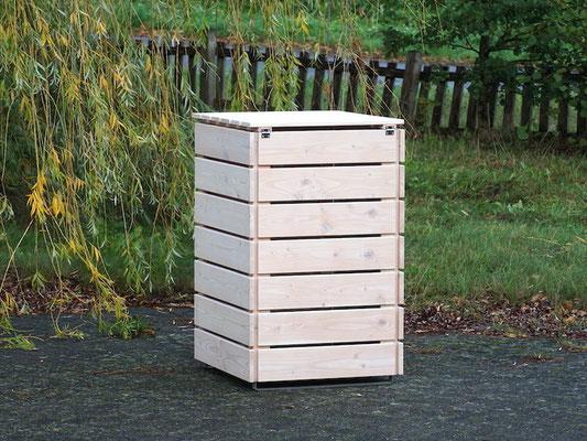 Rückseite 1er Mülltonnenbox / Mülltonnenverkleidung Holz 240 L, Oberfläche: Transparent Weiß
