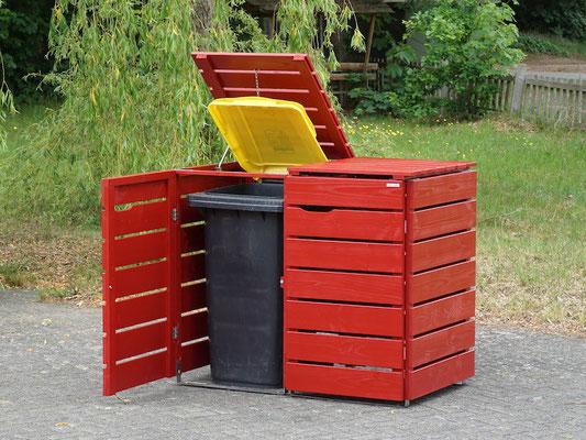 2er Mülltonnenbox / Mülltonnenverkleidung Holz für 240 L Mülltonnen, Oberfläche: Nordisch Rot (RAL 3011)
