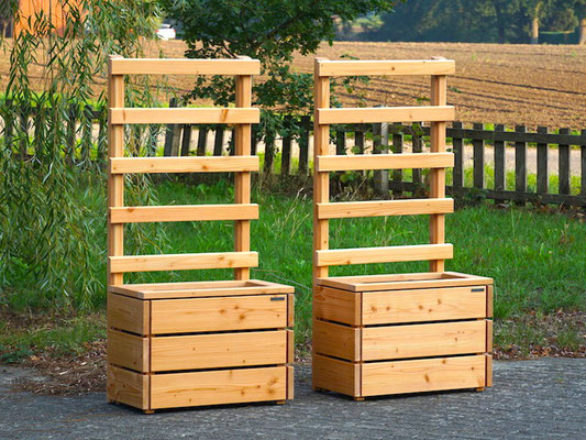 Pflanzkasten Holz S mit Rankgitter / Spalier, Maße: 72 x 41 x 150 cm, Oberfläche: Natur Geölt