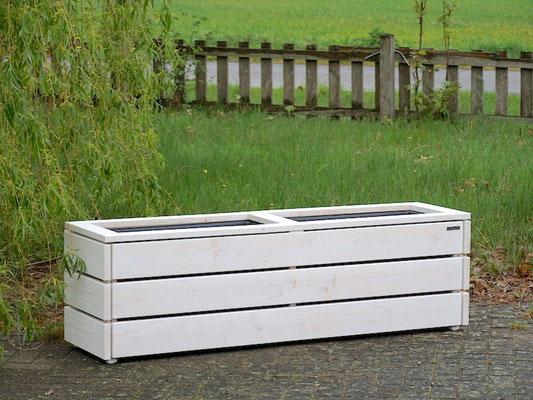 Pflanzkasten / Pflanzkübel Holz Lang M, Oberfläche: Transparent Weiß