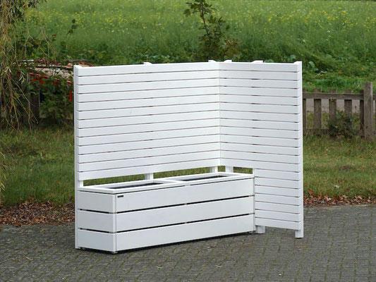 Pflanzkasten Holz Lang M mit Sichtschutz nach Maß, Oberfläche: Weiß