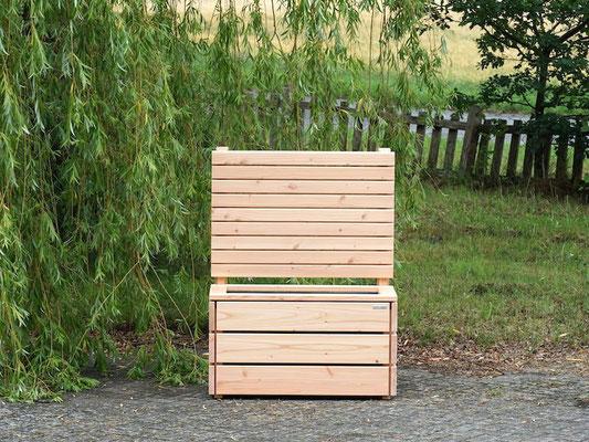 Pflanzkasten / Pflanzkübel Holz M mit Sichtschutz, Länge: 92 cm, Gesamthöhe: 120 cm, Oberfläche: Natur