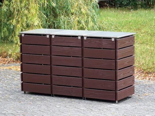3er Mülltonnenbox / Mülltonnenverkleidung 120 L mit Edelstahl - Deckel, Oberfläche: Dunkelbraun / Schokoladenbraun (RAL 8017)