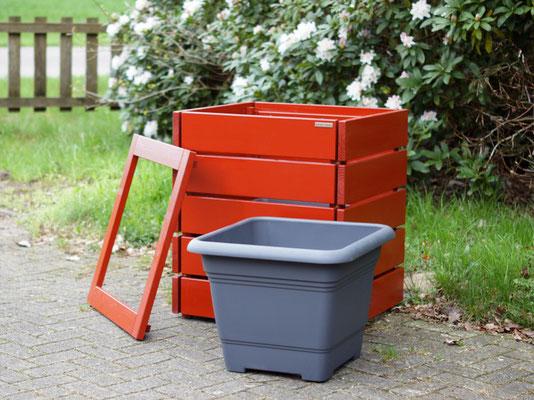 Pflanzsäule / Pflanzkübel Holz L, Oberfläche: Deckend Geölt Skandinavisch Rot