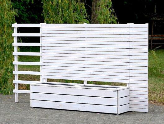 Pflanzkasten mit Sichtschutz nach Maß, Gesamtlänge: 332 cm, Oberfläche: Transparent Weiß