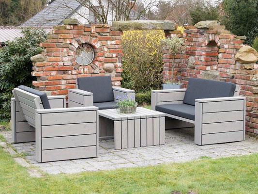 Loungemöbel Holz Set 3, Oberfläche: Transparent Grau