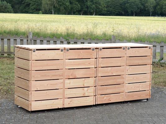 4er Mülltonnenbox / Mülltonnenverkleidung Holz, Oberfläche: Natur
