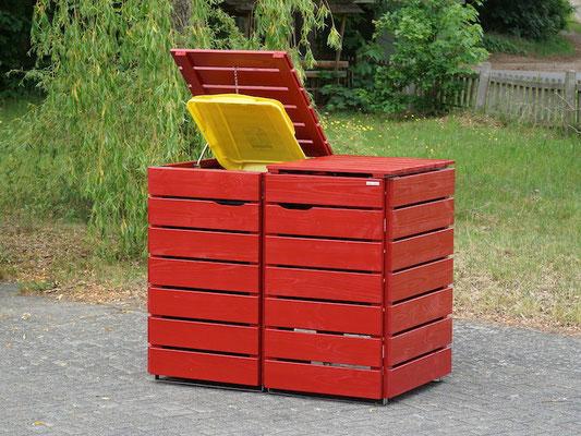 2er Mülltonnenbox / Mülltonnenverkleidung Holz für 240 L Mülltonnen, Oberfläche: Nordisch Rot