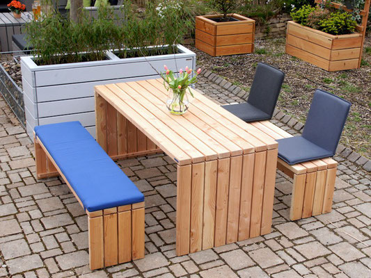 Gartenmöbel Set 1 Holz, Tischgröße: 200 x 100 cm, Oberfläche: Natur Geölt, mit Polster & Sitzschalen / Rückenlehne