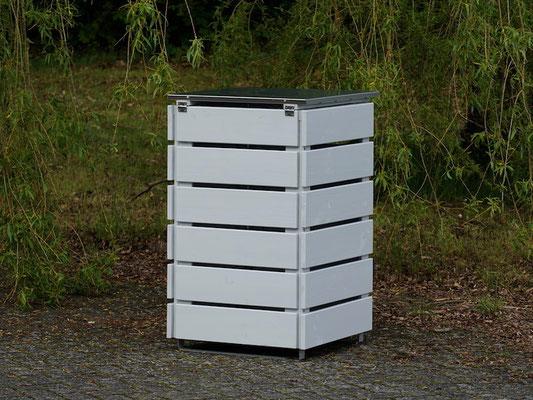 1er Mülltonnenbox Edelstahl / Holz - Deckel 120 L, Oberfläche: Lichtgrau (RAL 7035)