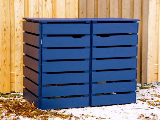 2er Mülltonnenbox / Mülltonnenverkleidung Holz, Oberfläche: Deckend Geölt Royal Blau