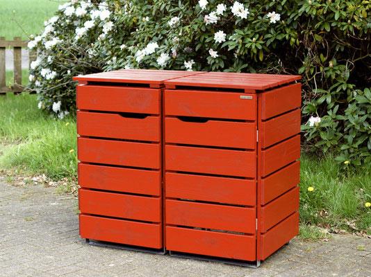 2er Mülltonnenbox / Mülltonnenverkleidung Holz für 60 L / 80 L / 120 L Mülltonnen, Oberfläche: Nordisch Rot (RAL 3011)