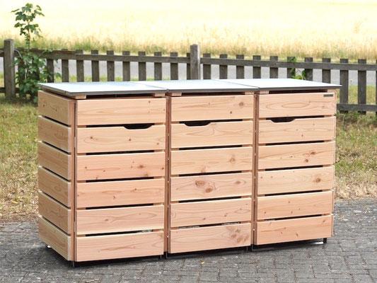 3er Mülltonnenbox Edelstahl / Holz - Deckel, Oberfläche: Natur