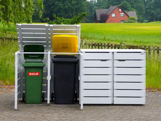 4er Mülltonnenbox Holz, für 120 L & 240 L Tonnen, Deckend Geölt Lichtgrau