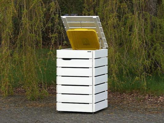 1er Mülltonnenbox / Mülltonnenverkleidung Holz 240 L, Oberfläche: Weiß