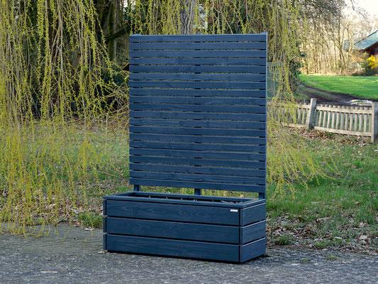 Pflanzkasten Holz Lang mit Sichtschutz nach Maß, Länge: 140 cm, Höhe: 200 cm, Oberfläche: Anthrazit