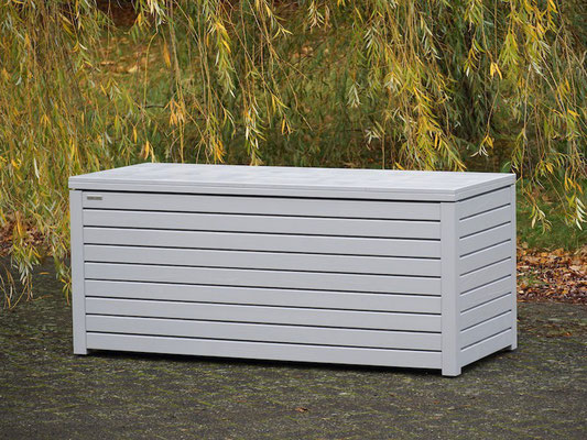 Auflagenbox / Kissenbox Holz, Oberfläche: Signalgrau RAL 7004, atmungsaktiv & wasserdicht