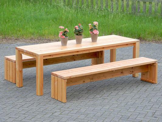 Gartenmöbel Set 3 Holz, Tischgröße: 240 x 80 cm, Oberfläche: Natur Geölt