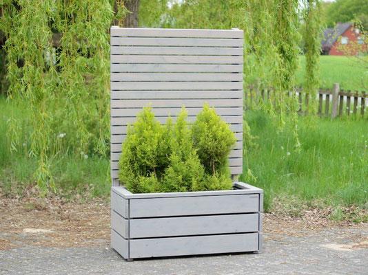 Pflanzkasten Holz mit Sichtschutz, Länge: 112 cm, Höhe: 180 cm, Oberfläche: Transparent Grau