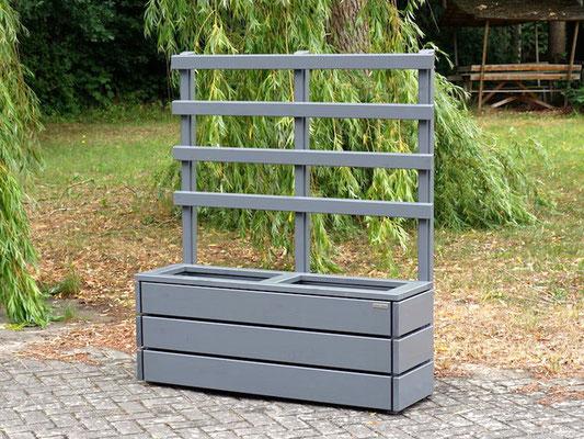 Pflanzkasten Holz Lang S mit Rankgitter / Spalier, Maße: 132 x 41 x 150 cm, Oberfläche: Steingrau